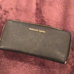 Large Black Michael Khors Wallet with Gold Zipper